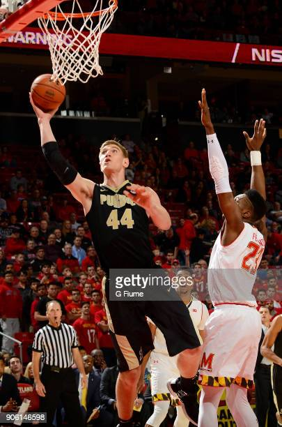 Isaac Haas of the Purdue Boilermakers shoots the ball against the Maryland Terrapins at Xfinity Center on December 1 2017 in College Park Maryland