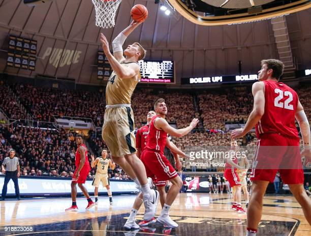 Isaac Haas of the Purdue Boilermakers shoots the ball against the Wisconsin Badgers at Mackey Arena on January 16 2018 in West Lafayette Indiana