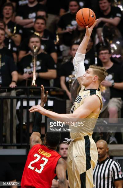 Isaac Haas of the Purdue Boilermakers shoots the ball during the game against the Maryland Terrapins at Mackey Arena on January 31 2018 in West...