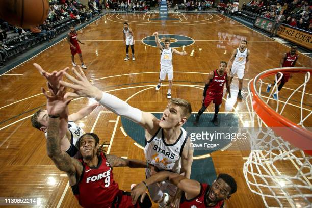 Isaac Haas of the Salt Lake City Stars battles for a rebound with Emanuel Terry of the Sioux Falls Skyforce during an NBA GLeague game on March 15...