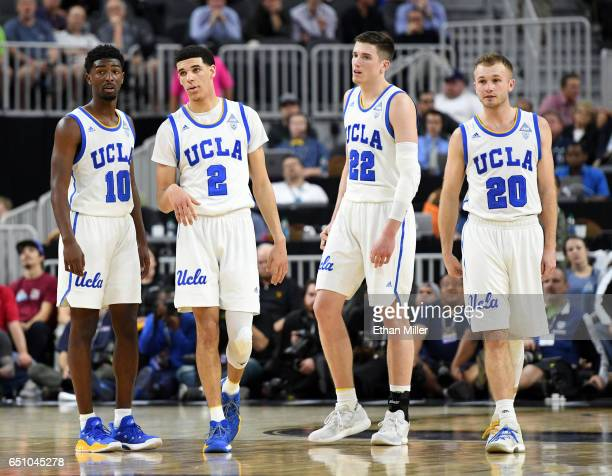 Isaac Hamilton Lonzo Ball TJ Leaf and Bryce Alford of the UCLA Bruins stand on the court during a quarterfinal game of the Pac12 Basketball...
