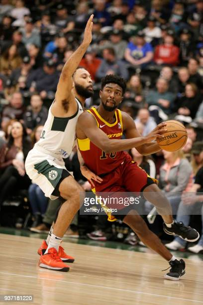 Isaac Hamilton of the Canton Charge jocks for a position against the Wisconsin Herd during the NBA GLeague game on March 23 2018 at the Menominee...
