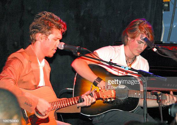 Isaac Hanson and Taylor Hanson during Hanson in Concert at The China Club in New York City on August 13 2003 at China Club in New York City New York...