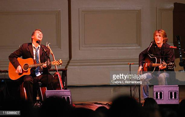 Isaac Hanson and Taylor Hanson during Hanson in Concert November 5 2003 at Carnegie Hall in New York City New York United States