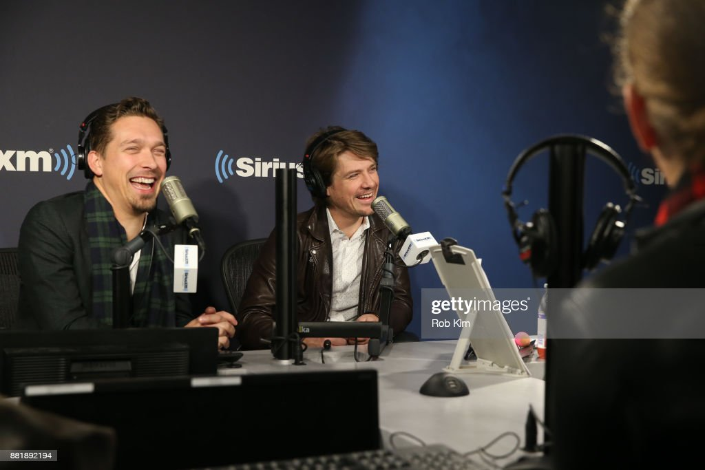Isaac Hanson and Taylor Hanson of the band Hanson appear on 'The Jenny McCarthy Show' at SiriusXM Studios on November 29, 2017 in New York City.