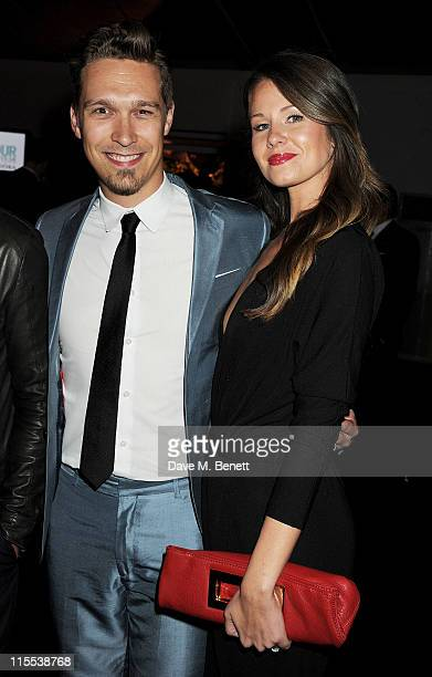 Isaac Hanson and wife Nicole attend an after party following the Glamour Women of the Year Awards at Berkeley Square Gardens on June 7, 2011 in...