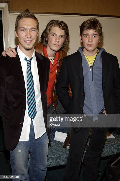 Isaac Hanson Taylor Hanson and Zac Hanson during Hanson Press Conference and Performance at Bottom Line in New York City New York United States