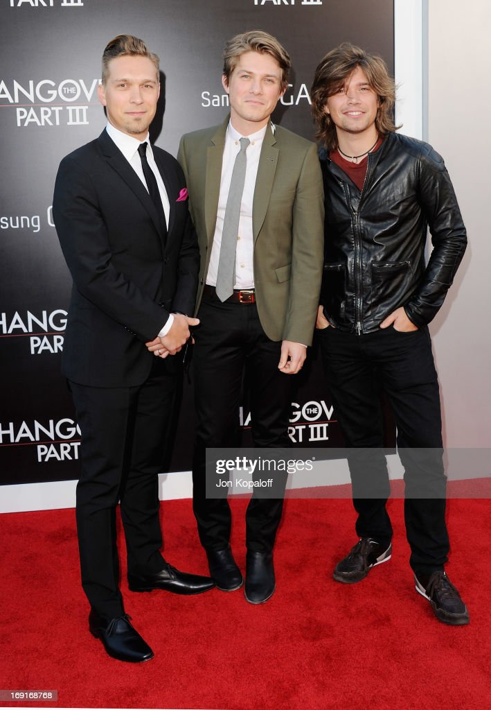 Isaac Hanson, Taylor Hanson and Zac Hanson of Hanson arrive at the Los Angeles Premiere 'The Hangover: Part III' at Westwood Village Theatre on May 20, 2013 in Westwood, California.