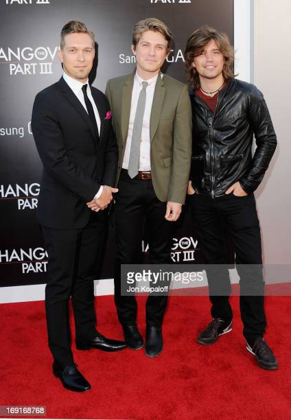 Isaac Hanson Taylor Hanson and Zac Hanson of Hanson arrive at the Los Angeles Premiere 'The Hangover Part III' at Westwood Village Theatre on May 20...