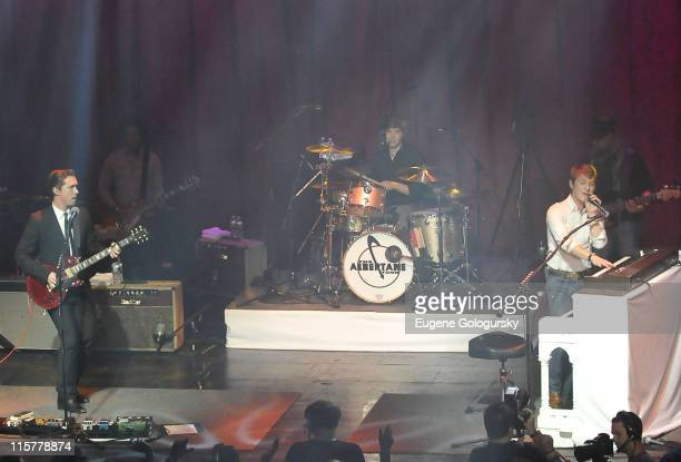 Isaac Hanson, Taylor Hanson and Zac Hanson of Hanson perform in concert at the Gramercy Theatre on April 26, 2010 in New York City.