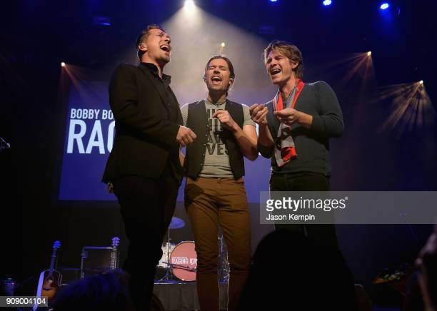 Isaac Hanson Zac Hanson and Taylor Hanson of Hanson perform onstage during the Bobby Bones The Raging Idiots' Million Dollar Show for St Jude at the...