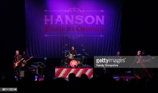 Isaac Hanson Zac Hanson and Taylor Hanson of the band Hanson performs on stage at The Wiltern on December 6 2017 in Los Angeles California