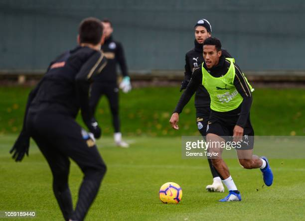 Isaac Hayden during the Newcastle United Training Session at The Newcastle United Training Centre on November 7 in Newcastle upon Tyne England