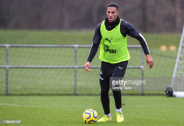 Isaac Hayden looks to pass the ball during the Newcastle United Training Session at the Newcastle United Training Centre on January 09 2020 in...