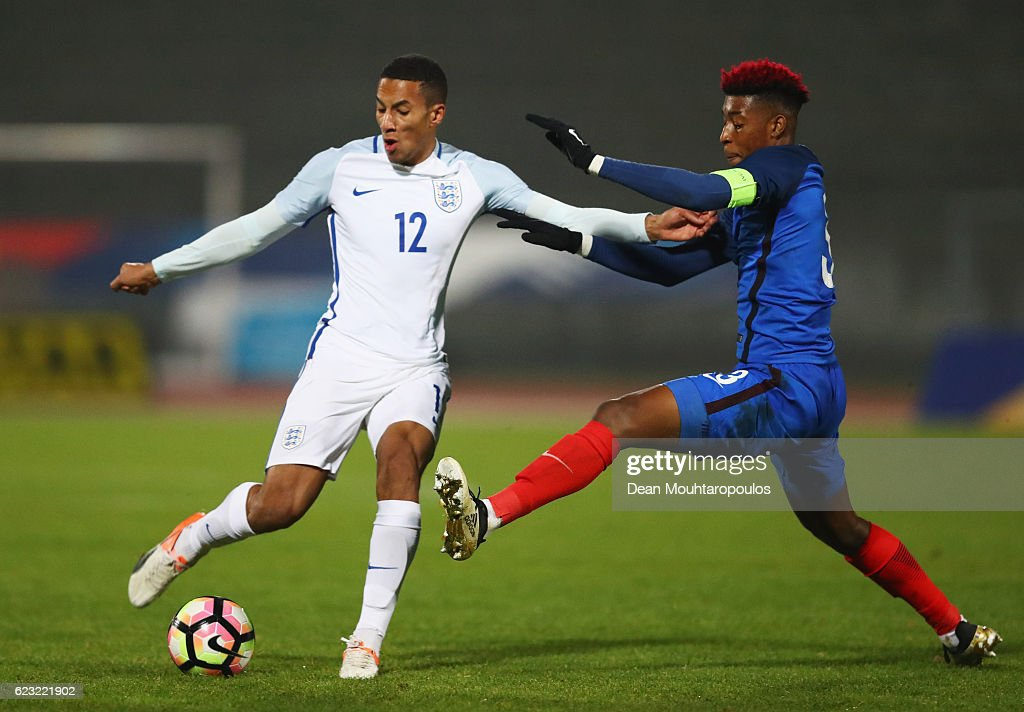 Isaac Hayden of England U21 is challenged by Presnel Kimpembe of France U21 during the U21 international friendly match between France and England at Stade Robert Bobin on November 14, 2016 in Paris, France.