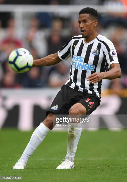 Isaac Hayden of Newcastle in action during the Premier League match between Newcastle United and Arsenal FC at St James Park on September 15 2018 in...