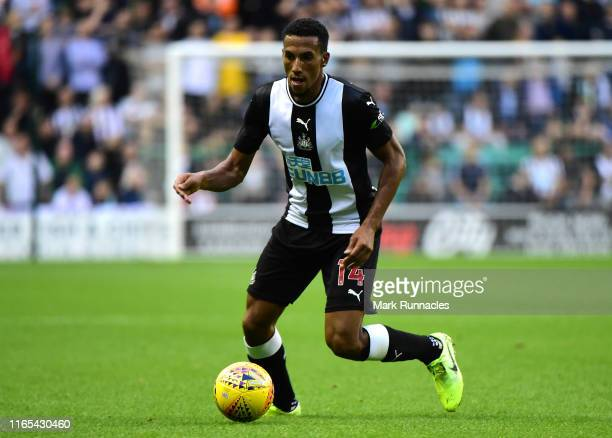 Isaac Hayden of Newcastle in action during the PreSeason Friendly match between Hibernian FC and Newcastle United FC at Easter Road on July 30 2019...