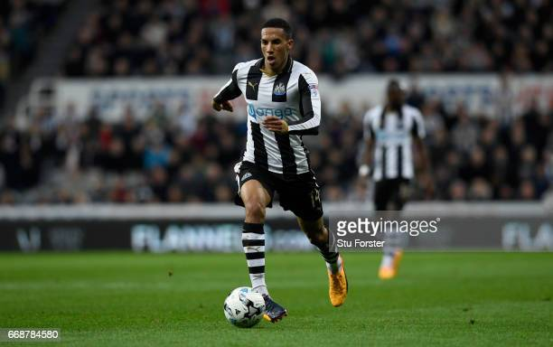 Isaac Hayden of Newcastle in action during the Sky Bet Championship match between Newcastle United and Leeds United at St James' Park on April 14...