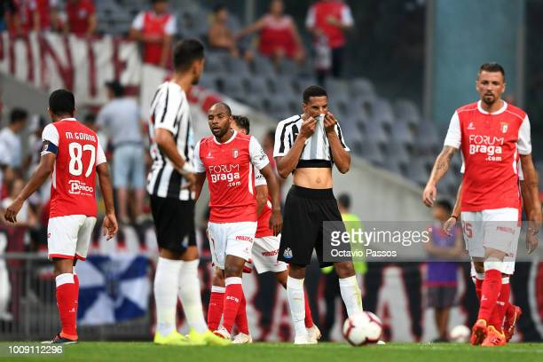 Isaac Hayden of Newcastle reacts after SC Braga scores the first goal during the Preseason friendly between SC Braga and Newcastle on August 1 2018...