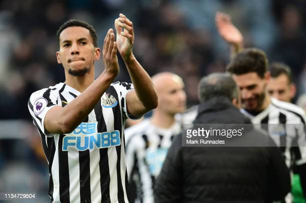 Isaac Hayden of Newcastle United acknowledges the fans after the Premier League match between Newcastle United and Everton FC at St James Park on...