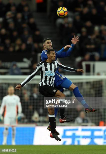 Isaac Hayden of Newcastle United and Vicente Iborra of Leicester City during the Premier League match between Newcastle United and Leicester City at...