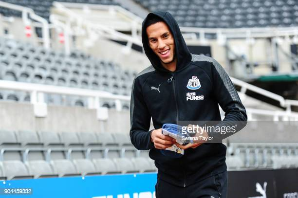 Isaac Hayden of Newcastle United arrives for the Premier League match between Newcastle United and Swansea City at StJames' Park on January 13 in...