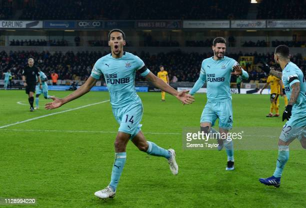 Isaac Hayden of Newcastle United celebrates after he scores the opening goal during the Premier League match between Wolverhampton Wanderers and...