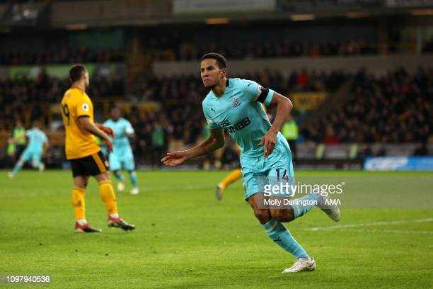 Isaac Hayden of Newcastle United celebrates after scoring a goal to make it 01 during the Premier League match between Wolverhampton Wanderers and...