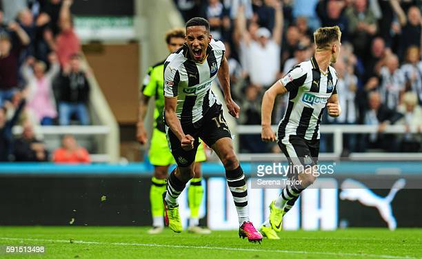 Isaac Hayden of Newcastle United celebrates after scoring the opening goal during the Sky Bet Championship match between Newcastle United and Reading...