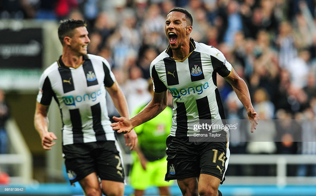 Isaac Hayden of Newcastle United (14) celebrates after scoring the opening goal during the Sky Bet Championship match between Newcastle United and Reading at St.James' Park on August 17, 2016, in Newcastle upon Tyne, England.