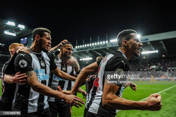 Isaac Hayden of Newcastle United celebrates after scoring the winning goal in extra time during the Premier League match between Newcastle United and...