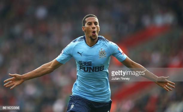 Isaac Hayden of Newcastle United celebrates as he scores their first goal during the Premier League match between Southampton and Newcastle United at...