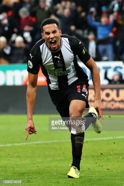 Isaac Hayden of Newcastle United celebrates scoring the opening goal during the Premier League match between Newcastle United and Chelsea FC at St....