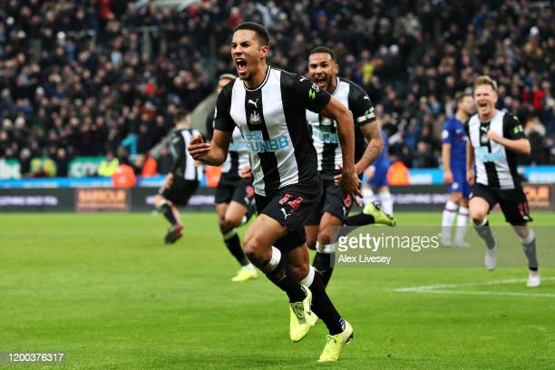 Isaac Hayden of Newcastle United celebrates scoring the opening goal during the Premier League match between Newcastle United and Chelsea FC at St...