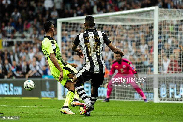Isaac Hayden of Newcastle United crosses the ball into the box for an assist during the Sky Bet Championship match between Newcastle United and...