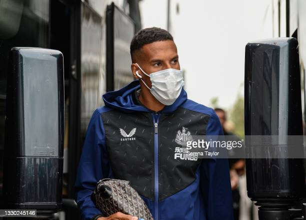 Isaac Hayden of Newcastle United FC arrives for the Pre Season Friendly between Doncaster Rovers and Newcastle United at the Keepmoat Stadium on July...