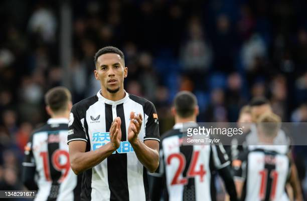 Isaac Hayden of Newcastle United FC claps the fans during the Premier League match between Crystal Palace and Newcastle United at Selhurst Park on...
