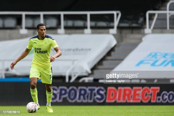 Isaac Hayden of Newcastle United FC looks to pass the ball during the Pre Season Friendly between Newcastle United and Stoke City at St James' Park...