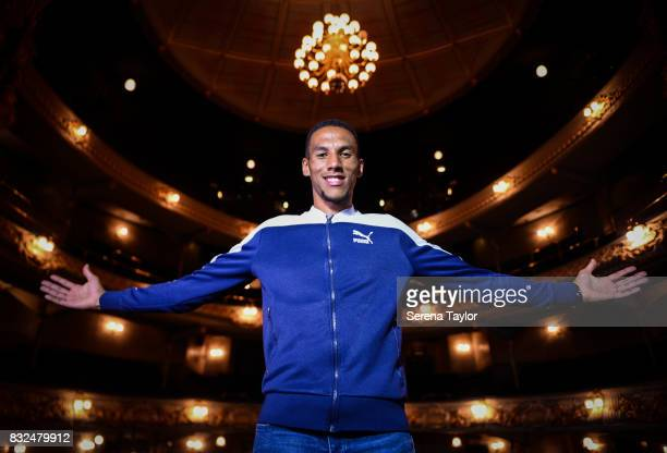 Isaac Hayden of Newcastle United poses for a photo as he visits the Tyne Theatre on August 04 in Newcastle upon Tyne England