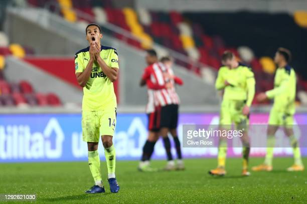 Isaac Hayden of Newcastle United reacts after the Carabao Cup Quarter Final match between Brentford and Newcastle United at Brentford Community...