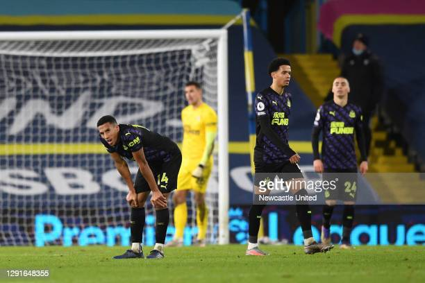 Isaac Hayden of Newcastle United reacts after the fifth goal for Leeds United during the Premier League match between Leeds United and Newcastle...