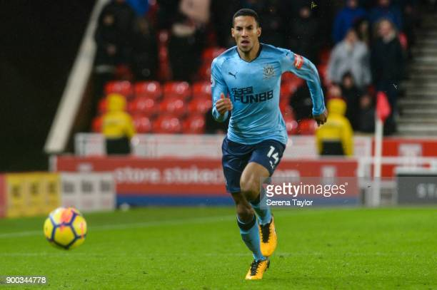 Isaac Hayden of Newcastle United runs towards the ball during the Premier League match between Stoke City and Newcastle United at Bet365 Stadium on...