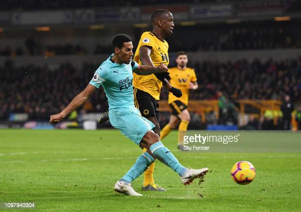 Isaac Hayden of Newcastle United scores his team's first goal during the Premier League match between Wolverhampton Wanderers and Newcastle United at...