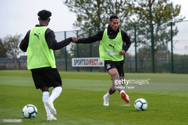 Isaac Hayden passes the ball during the Newcastle United Training session at The Newcastle United Training Centre on October 3 in Newcastle upon Tyne...