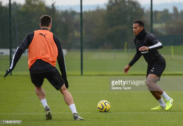 Isaac Hayden receives the ball during the Newcastle United Training Session at the Newcastle United Training Centre on October 31, 2019 in Newcastle...