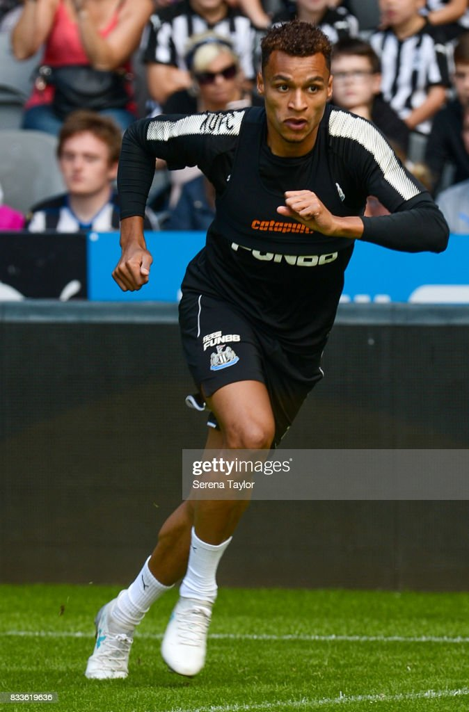 Isaac Hayden runs with the ball during a Newcastle United Open Training session at St.James' Park on August 17, 2017, in Newcastle upon Tyne, England.
