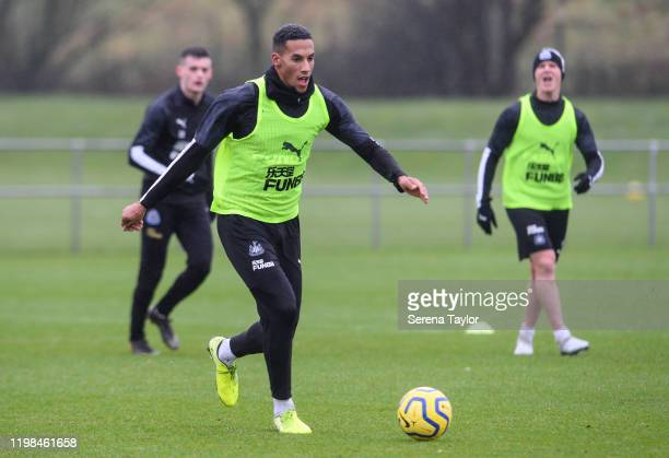 Isaac Hayden runs with the ball during the Newcastle United Training Session at the Newcastle United Training Centre on January 09 2020 in Newcastle...