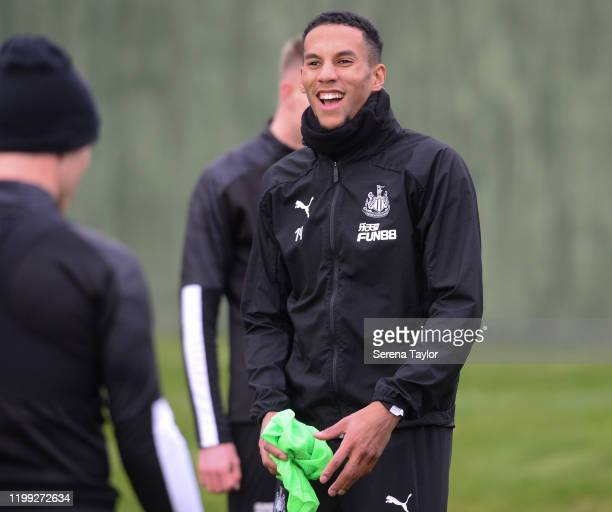 Isaac Hayden smiles during the Newcastle United Training Session at the Newcastle United Training Centre on January 13 2020 in Newcastle upon Tyne...