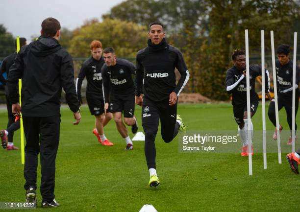Isaac Hayden warms up during the Newcastle United Training Session at the Newcastle United Training Centre on October 16 2019 in Newcastle upon Tyne...
