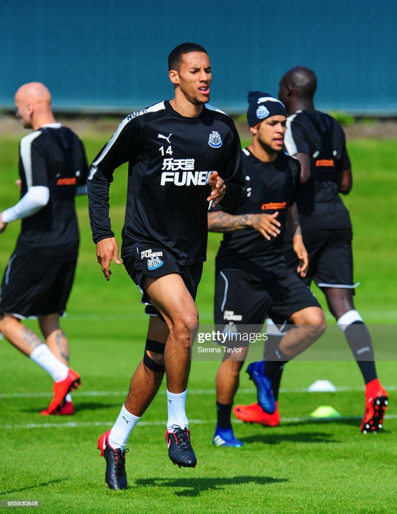 Isaac Hayden warms up during the Newcastle United Training Session at the Newcastle United Training Centre on May 8, 2018, in Newcastle upon Tyne, England.